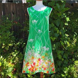 1960's Komar Cotton Floral Front Zip Shift Dress